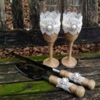 Hessian Champagne Glasses Cake Knife And Lifter